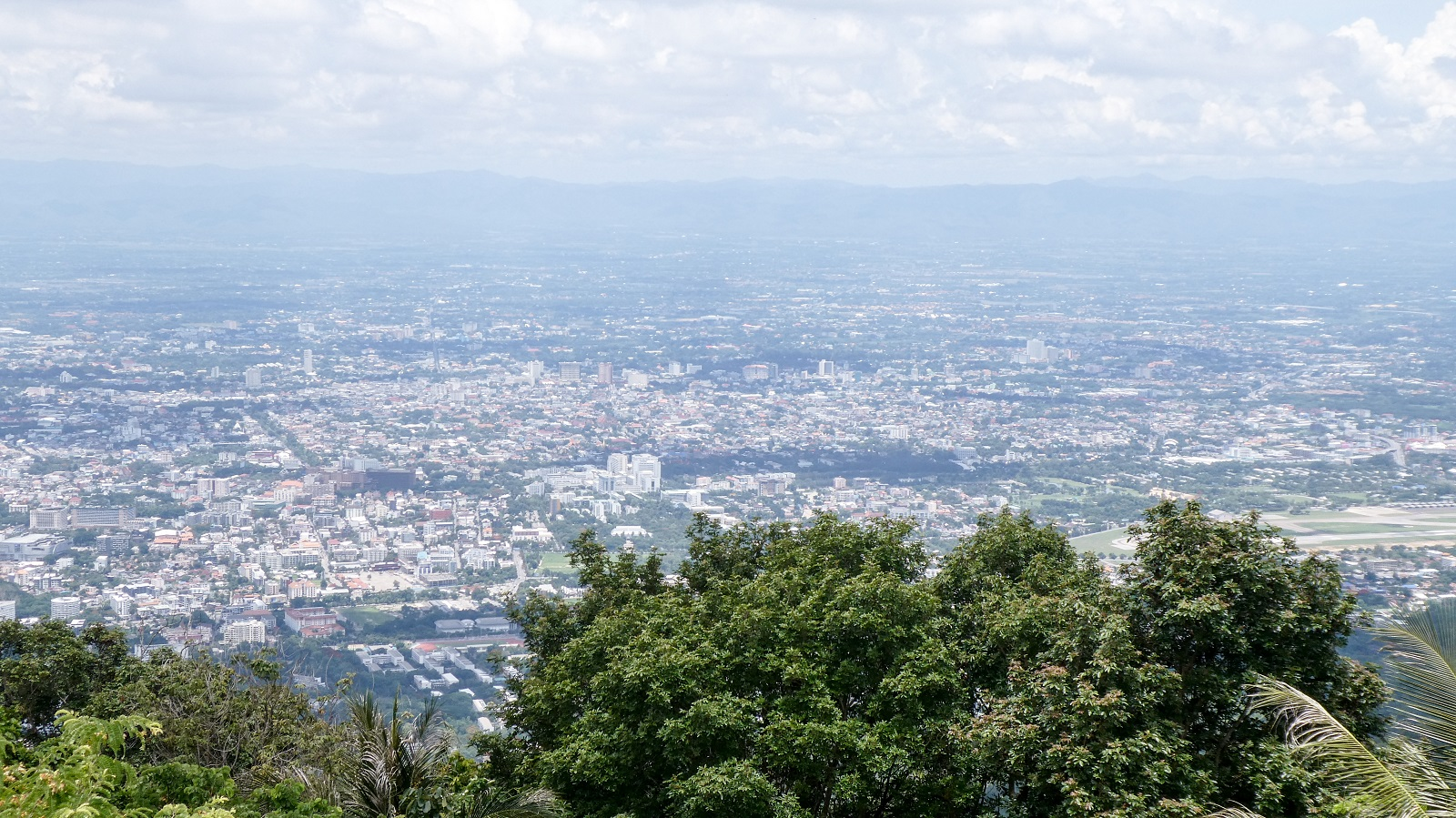 Aerial view of Chiang Mai from the road towards Doi Suthep