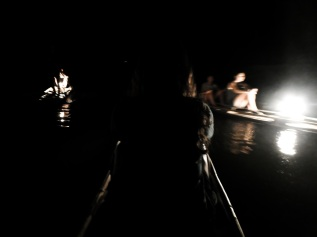 Bamboo boats on the river in Lod Cave