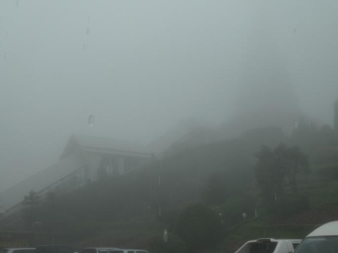Cloud covered Twin Pagodas Doi Inthanon