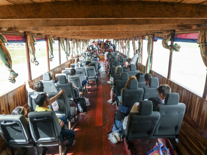 Inside of the slow boat to Luang Prabang