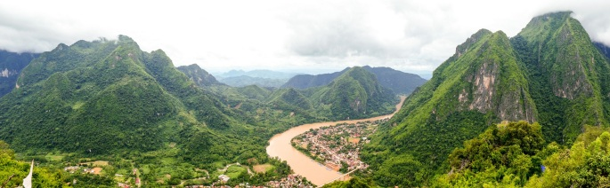 Panorama from the viewpoint above Nong Khiaw